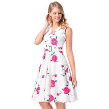 AOVEI Pink Floral Print Vintage Flared Prom Party Sweet Pleated Swing Dress - $24.99