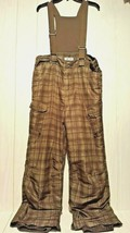 Cherokee Snowski Bib Pants Size Youth XL 16/18 Army Green Plaid Dark Oli... - $14.69