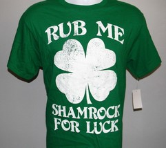 Mens Rub Me Shamrock For Luck T Shirt Small St Patty's Day Irish Clover - $21.73