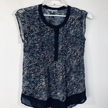 Daniel Rainn Womens Blouse Career Black Blue Print Cap Sleeve Size 8 Sheer - $11.65