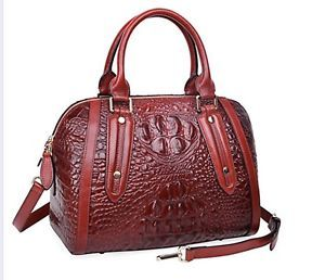 New Crocodile Embossed Italian Leather Satchel Croc Shoulder Bag