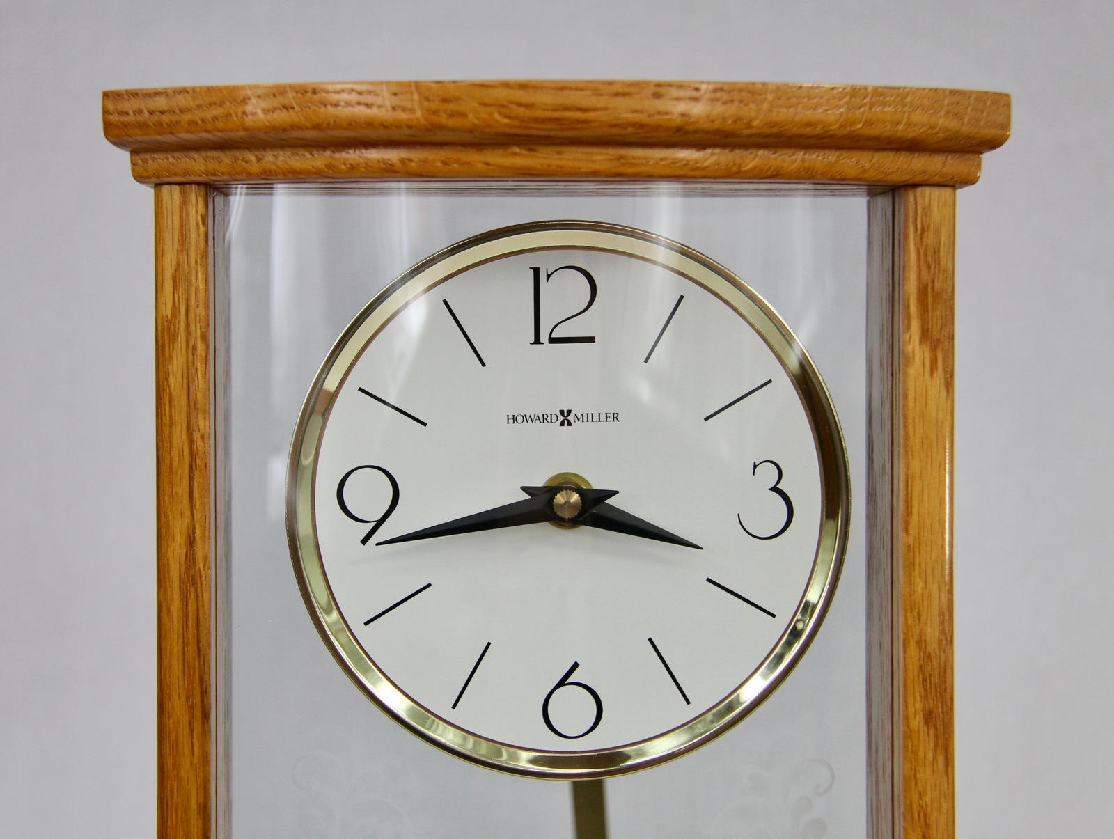 Howard Miller Modern Mantel Clock with a Solid Oak Frame