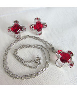 Vintage Park Lane Ruby Red Glass Stones Pendant Necklace Earrings Set Si... - $35.99