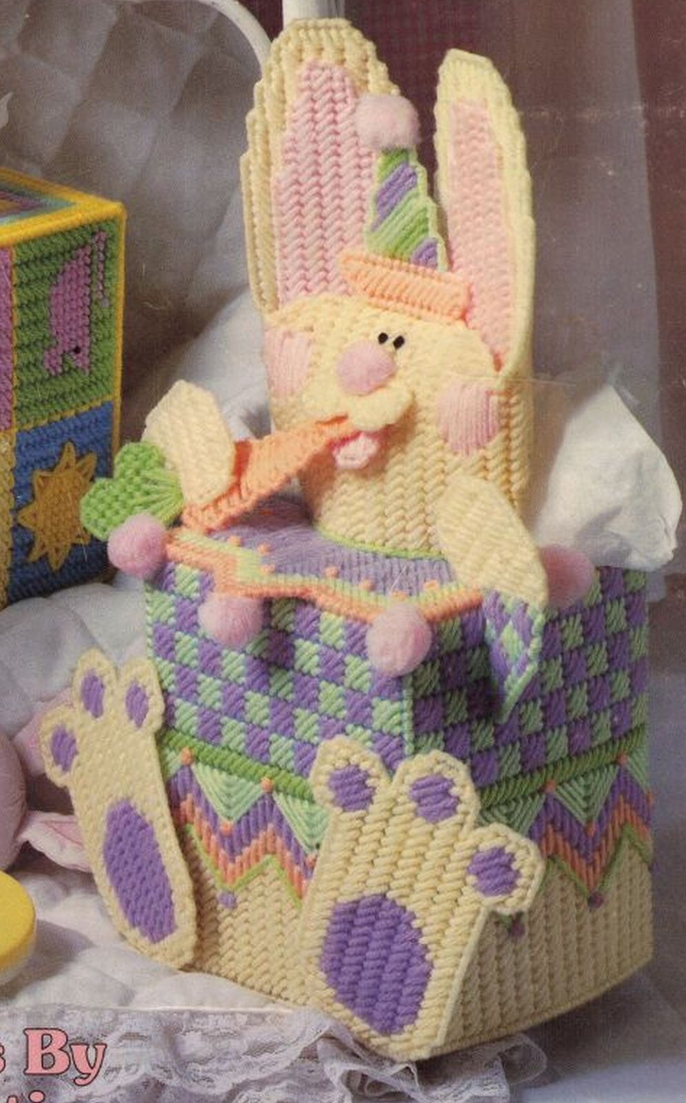 Primary image for Plastic Canvas Baby Nursery Giraffe Easter Bunny Peek-A-Boo Tissue Cover Pattern