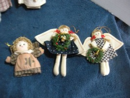 """Christmas country doll ornaments 3pc lot 2 6 in ; 4"""" Angels - $6.00"""