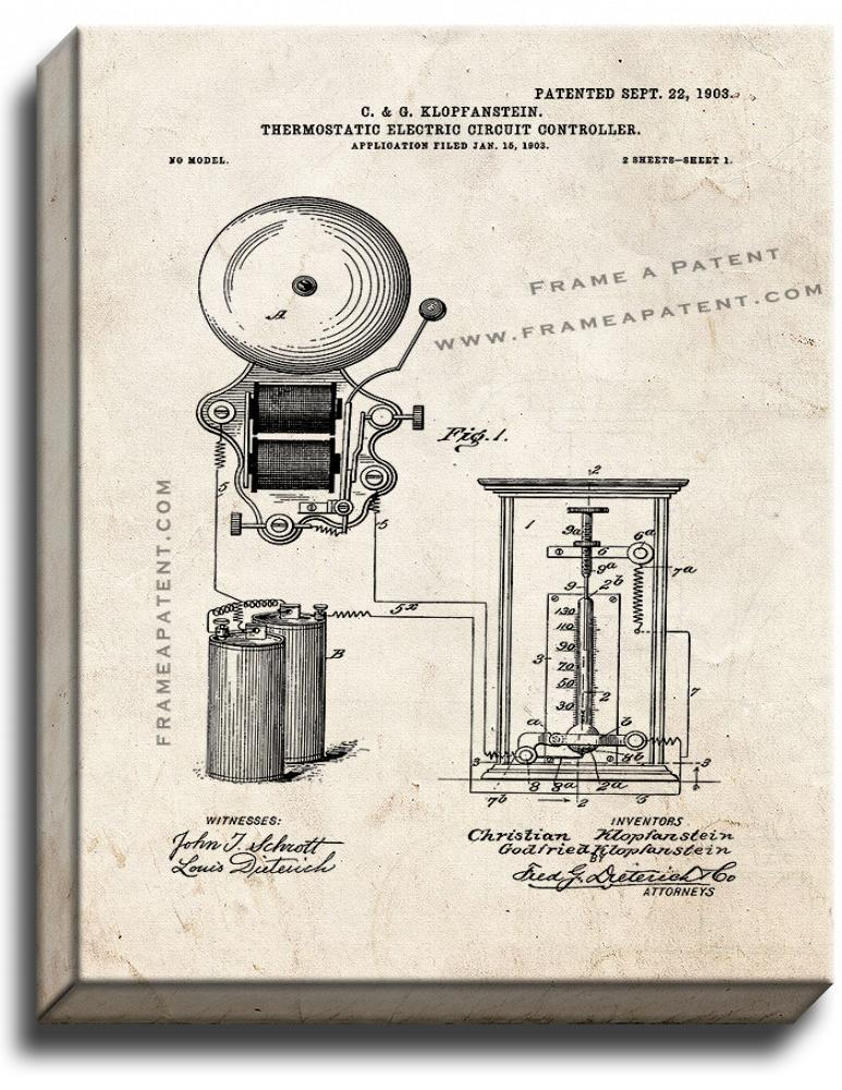 Primary image for Thermostatic Electric-circuit Controller Patent Print Old Look on Canvas