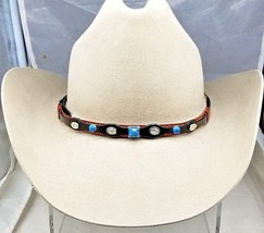 Black+Rust HATBAND with Round+Square TURQUOISE and Silver Oval CONCHOS H... - $14.49