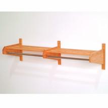 """48"""" Oak Coat & Hat Rack Wallmount Hanger Door Hanger Shelf Cloth Hanger ... - $64.99"""