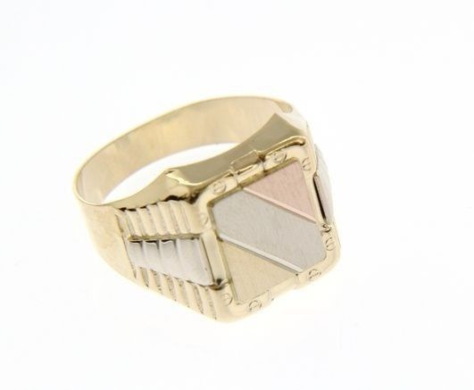 18K YELLOW WHITE ROSE GOLD BAND MAN RING SQUARE SATIN LUMINOUS MADE IN ITALY