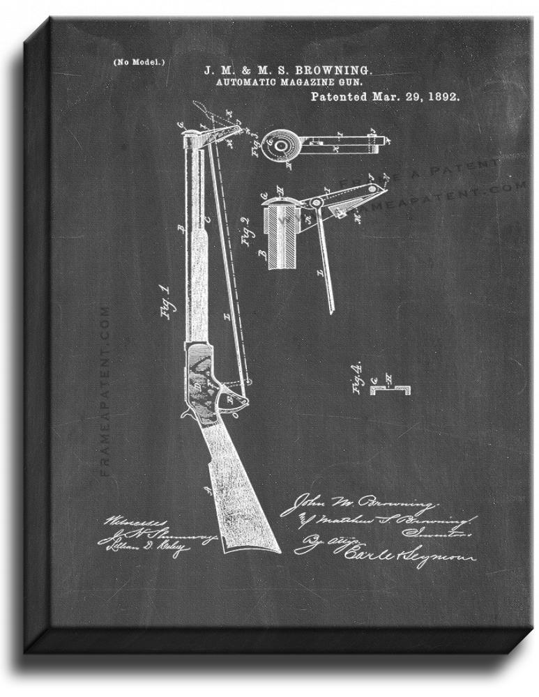 Primary image for Automatic Magazine-gun Patent Print Chalkboard on Canvas