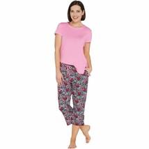 Cuddl Duds Smart Comfort Short Sleeve Tee & Cropped Pant PJ Set, Pink Fl... - $24.74