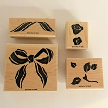 Stampin Up Bow & Rose Flowers Wood Mounted Stamp Set of 4 Gift Card Maki... - $10.80