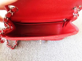AUTHENTIC CHANEL RED QUILTED CAVIAR SQUARE MINI CLASSIC FLAP BAG SHW image 8