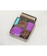 D'CC'S Sterling Silver .925 Pendant DICHROIC GLASS SQUARE Purple Blue Co... - $43.56