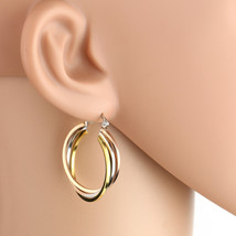 Trendy Twisted Tri-Color Silver, Gold & Rose Tone Hoop Earrings- United Elegance - $14.99
