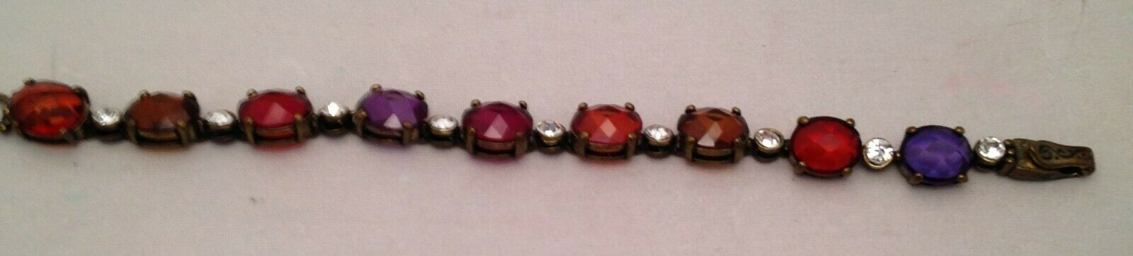 Vintage Bracelet of Multi colored Stones - No backing - Light Shines Thru