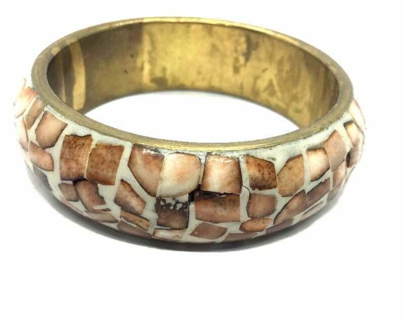 Wide Ethnic Chunky Bangle Bracelet, 1950's Big Thick Statement Cuff, Inlay Shell - $24.74