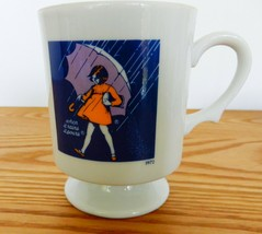 """Morton Salt collectible footed coffee mug 1972 """"When it Rains it Pours"""" Ad - $15.00"""