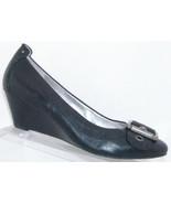 Jessica Simpson 'Ocho' black leather round toe buckle slip on wedges 8B ... - $28.66