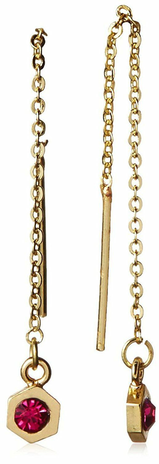 New Jules Smith Gold Hex Red Crystal Ear Threader Earrings NWT