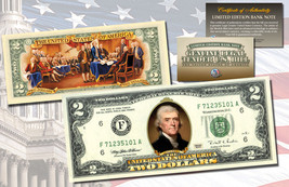 TWO DOLLAR $2 U.S. Bill Genuine Legal Tender Currency COLORIZED 2-SIDED - $14.80