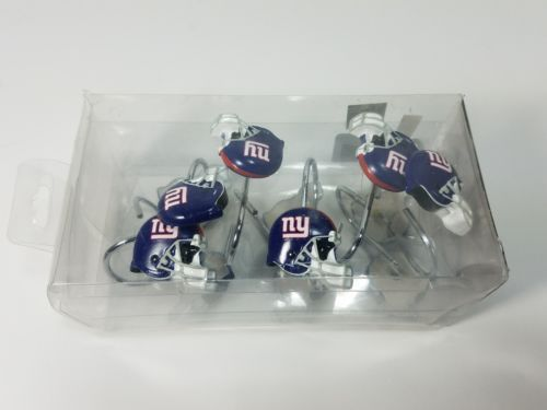 NFL NY GIANTS SHOWER CURTAIN HOOKS Set of 12 NWT Exclusive Northwest