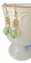 GREEN EARRINGS, Green Jewelry, Green,Gold & Green Earrings, Swarovski Cr... - $12.50