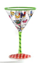 Romero Britto 8oz Martini Glass - Martinis Design Gift Boxed NEW  Authentic Tags