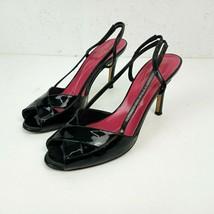 Kate Spade New York Womens 7.5 Italian Leather Shoes Sling Back Heels Black - $39.59