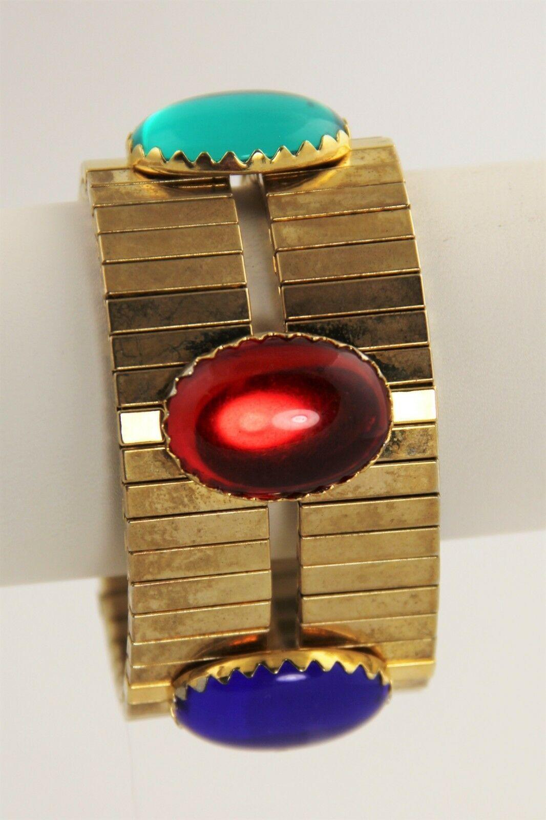VINTAGE Jewelry BIG GEM CABOCHON WIDE STRETCH BRACELET