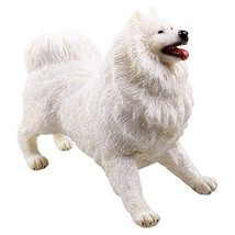 RECUR Samoyed Figures Statue Toy for Pet Dog Lovers, Realistic Puppy Model Hand