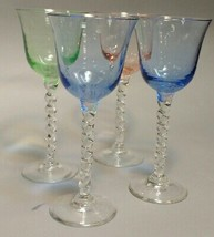 Set of Four Twisted Stem Hand Blown Various Colored Bowl Cordial Glasses... - $117.80