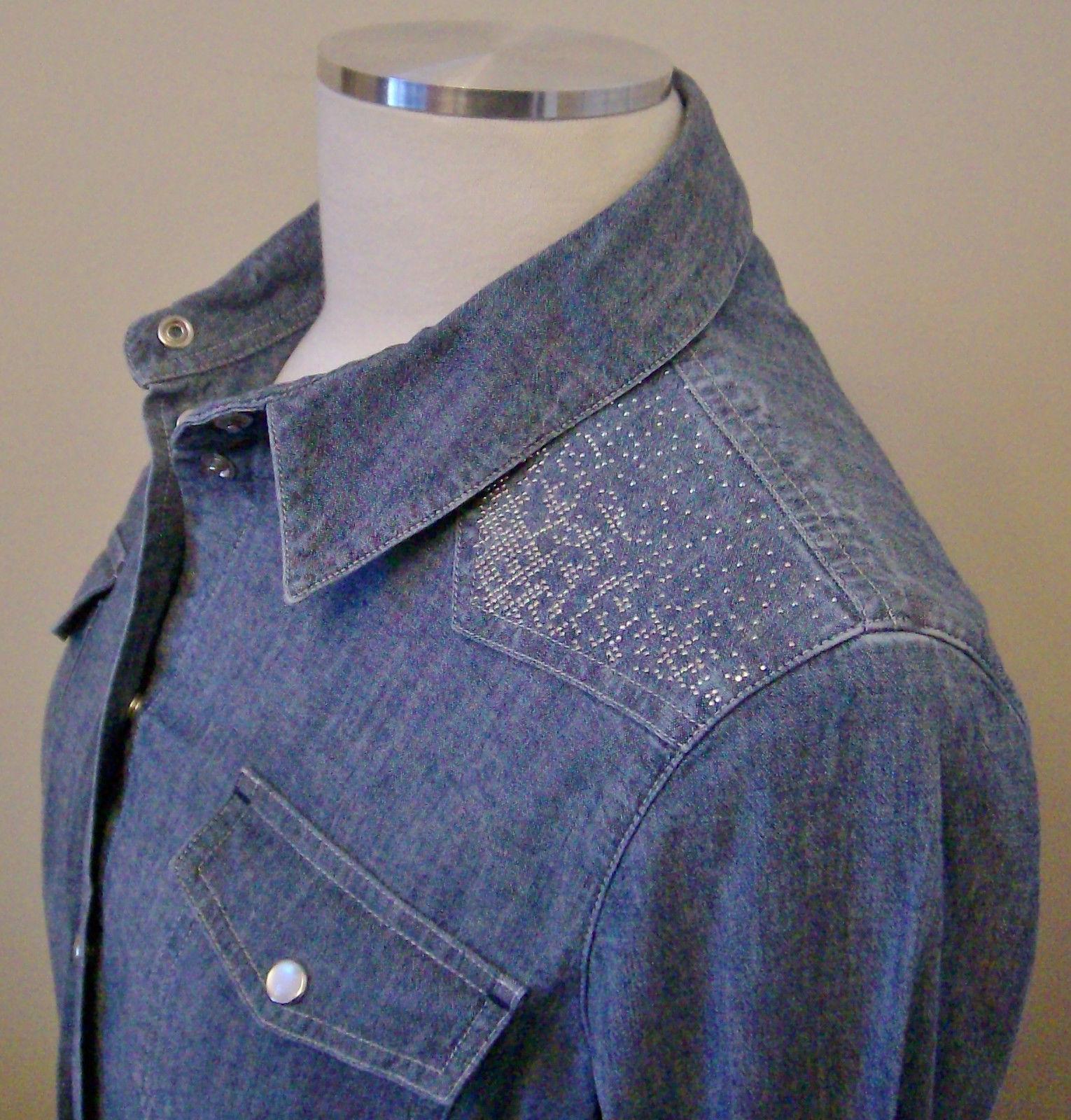... ARMANI Button Down Shirt /Top Sz- US-8/EU-44 Blue ...