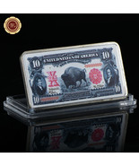 WR 1901 $10 Legal Tender Bison Note Colored 24K Silver Art Bar Gifts for... - $3.33