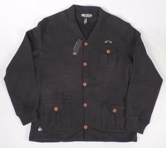 Ten 10.Deep Black Veterans Card Fleece Cardigan Sweater Jacket 2XL 3XL NW