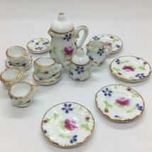 Miniature Tea Set Tableware Of 15 Pieces Dollhouse - $47.69