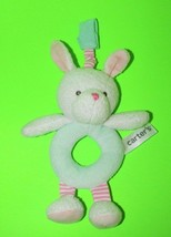 Carters plush BUNNY RABBIT rattle green ring pink striped legs hanging s... - $8.90