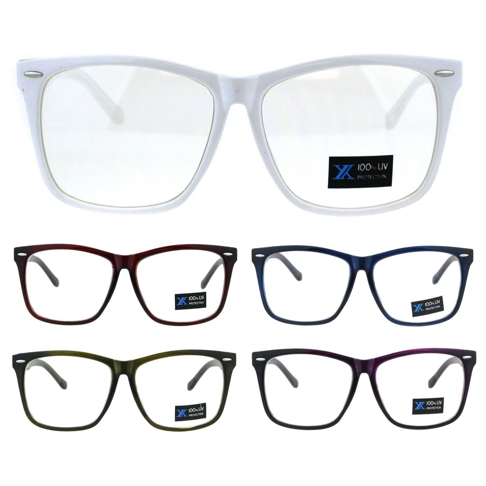 24a9091c83 57. 57. Thin Plastic Nerdy Geek Rectangular Clear Lens Eyeglasses