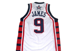 Lebron James #9 Team USA Men Basketball Jersey White Any Size image 2