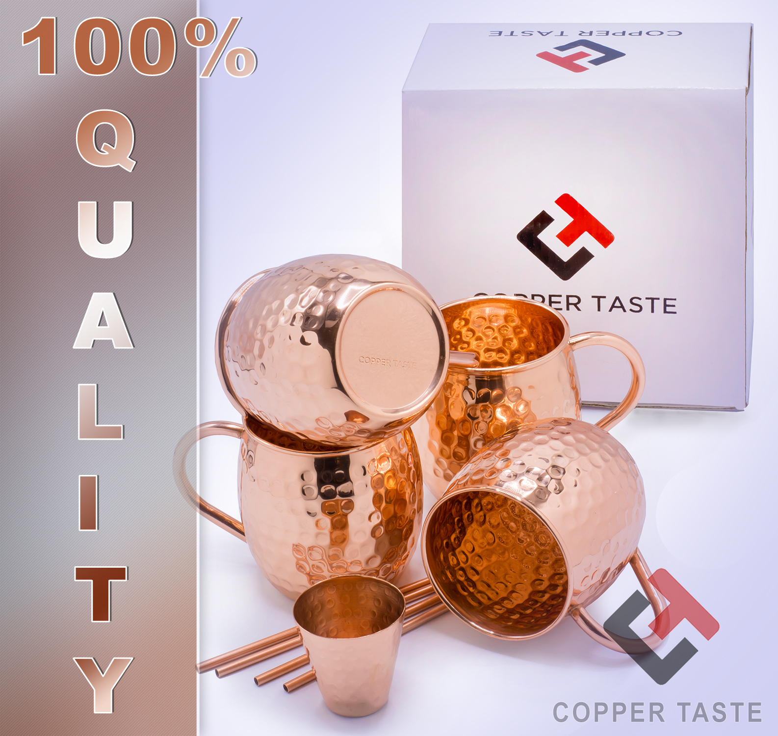 Set of 4 Moscow Mule Mugs (16oz), 4 Copper Cocktail Straws, 2 Copper Glass Shots