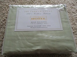 BNIP Fine Deluxe Hotel 300 Thread count twin sheet set, sage, 100% cotto... - $24.75