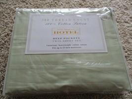 BNIP Fine Deluxe Hotel 300 Thread count twin sheet set, sage, 100% cotto... - $24.75