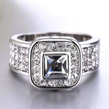 Women's Wedding Anniversary Ring 14k White Gold Over 925 Silver Princess Cut CZ - $84.60