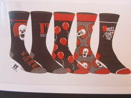 IT The movie Stephen King Men's Clowns NEW 5 Pair CREW SOCKS SIZE 8-12 CC - $17.94