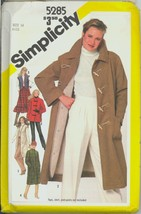 Uncut 1980s Size 14 Bust 36 Removable Lining Toggle Coat Simplicity 5285... - $9.99