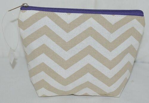 Ganz Brand ER39002 Chevron Design Beige Tan Purple Zipper Makeup Bag
