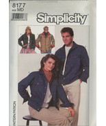 New 1980s Denim Jeans Jacket Unisex Simplicity 8177 Chest Bust 35 36 Pattern