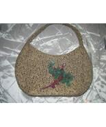 SOLD/Not For Sale~Vintage Light Beige Brown-Black Fabric Bag~Handpainted Floral - $2,000.00