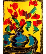 FAST SHIPPING! FLOWERS MODERN ABSTRACT ART - PAINTING CANVAS COMES  T55ERTH - $98.00