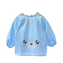 Lovely Smocks Baby Feeding Clothes Baby Bibs Happy Face ,Blue - $13.01